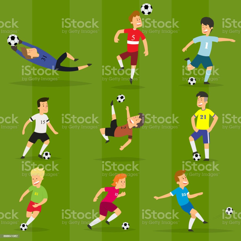 Set of colorful football players on different positions playing soccer on a green field vector art illustration