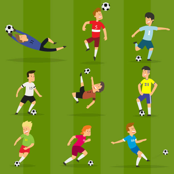 stockillustraties, clipart, cartoons en iconen met reeks van kleurrijke voetbalspelers op verschillende posities te voetballen op een groen veld - soccer player