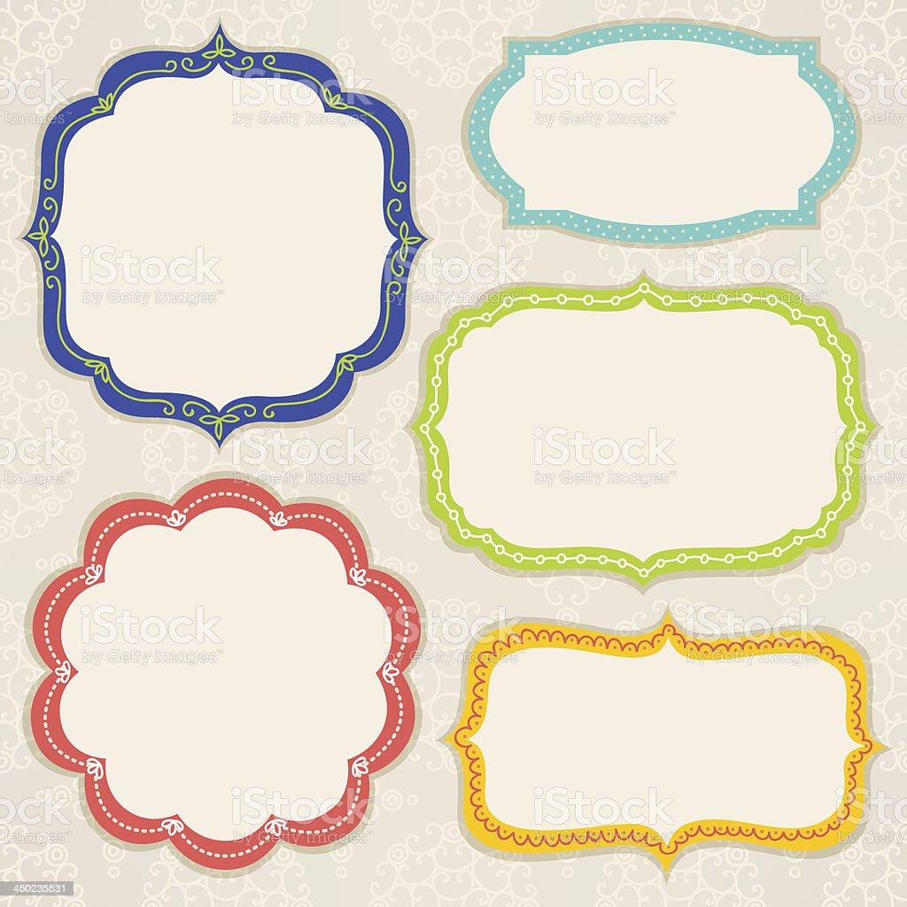 Set of colorful frames vector art illustration