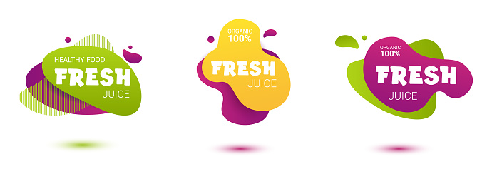 Set of colorful fresh juice tag. Bright splash shiny stickers, organic emblems, tags and labels. For badges of fresh market, detox, farmers market, eco shop, smoothies drinks, juice cafe, green bar