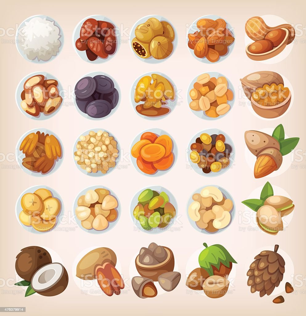 Set of colorful fruit and nuts. vector art illustration