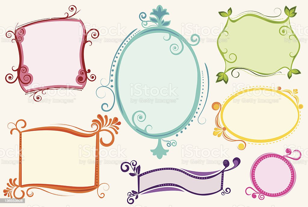 set of colorful funky labels stock vector art more images of blank