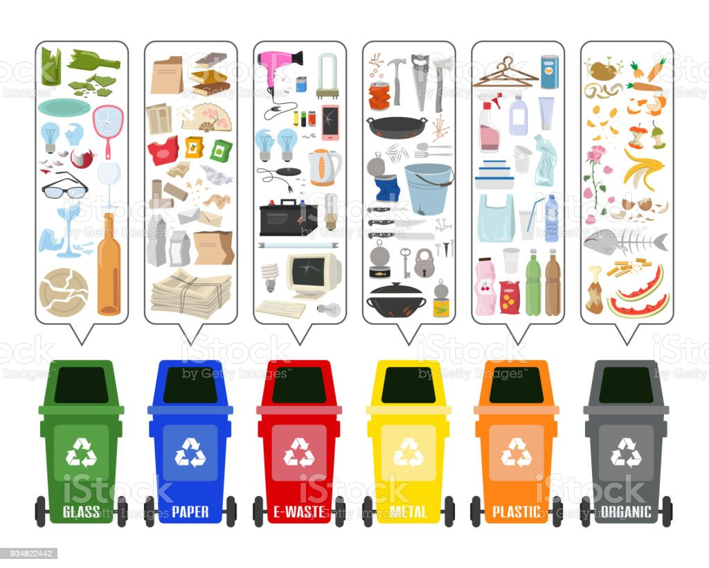 Set of colorful garbage cans with sorted garbage on white background. Ecology and recycle concept. Vector Illustration. vector art illustration