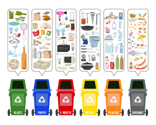 set of colorful garbage cans with sorted garbage on white background. ecology and recycle concept. vector illustration. - zbiornik wytworzony przedmiot stock illustrations