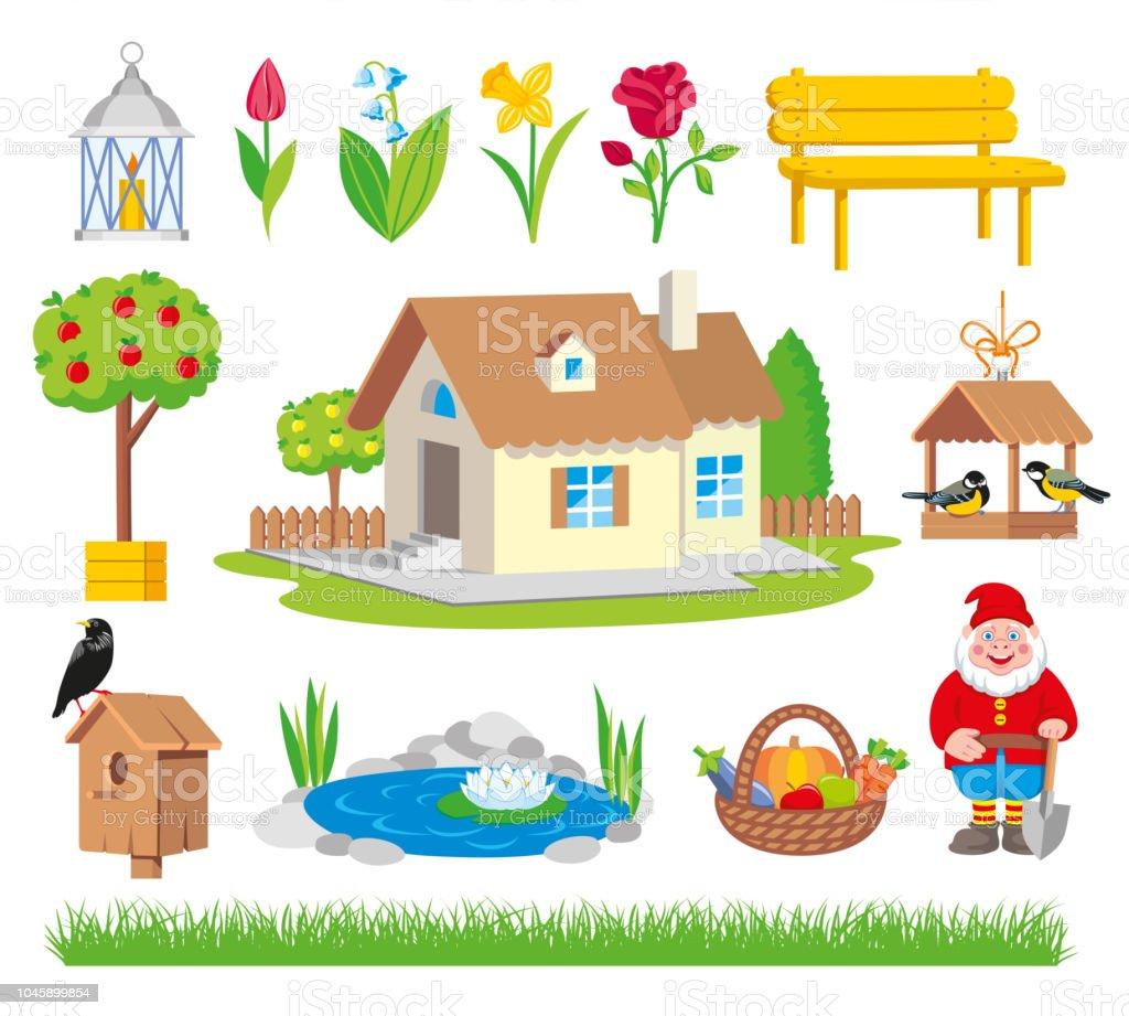 Set of colorful gardening icon vector art illustration
