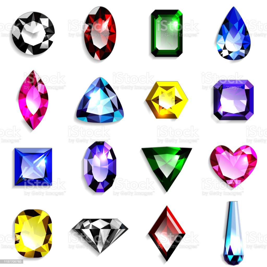 31eaf61b8488 Ilustración de Conjunto De Piedras Preciosas De Colores De Varias ...