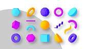 Set of colorful geometric shapes. Elements for trendy design. Isolated objects. 3D vector illustration