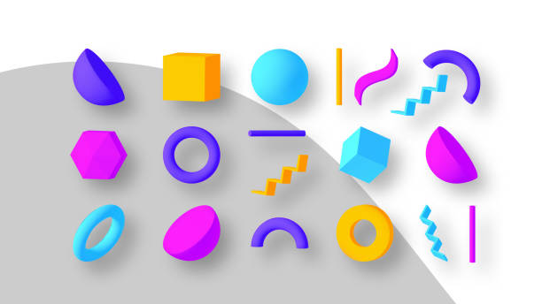 Set of colorful geometric shapes. Elements for design. Isolated vector objects. Set of colorful geometric shapes. Elements for trendy design. Isolated objects. 3D vector illustration three dimensional stock illustrations