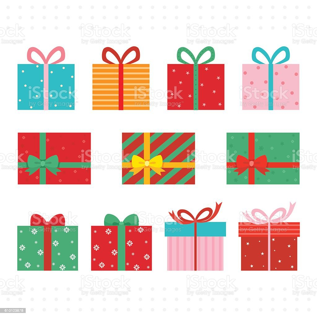 Set of colorful gift boxes. vector art illustration