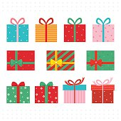 Set of colorful gift boxes.