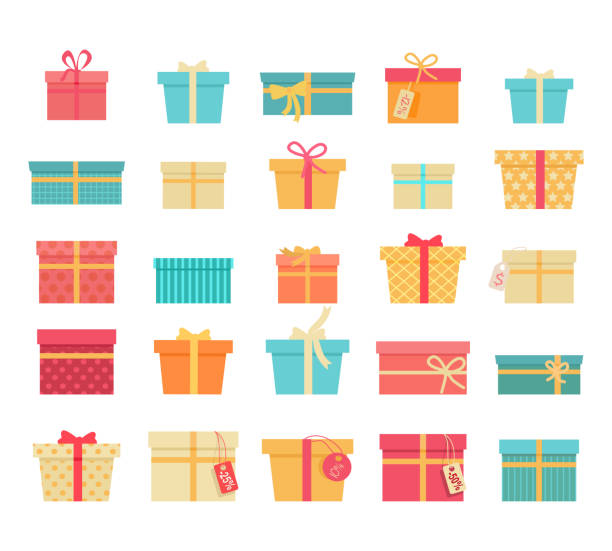 Set of Colorful Gift Boxes with Ribbons and Bows Set of colorful gift boxes with fashionable ribbons and bows isolated. Present box. Decorative stylish wrap for presents package. Modern packing product. Gifts collection web icon sign symbol. Vector gifts stock illustrations