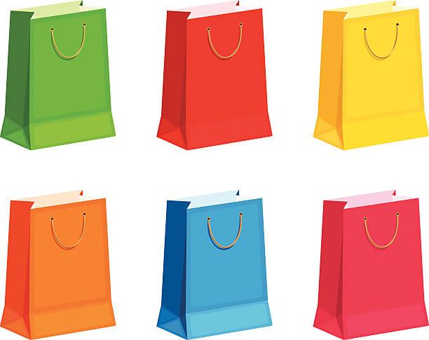 Satz von bunten Geschenk oder shopping Taschen.  Vektor-illustration. – Vektorgrafik