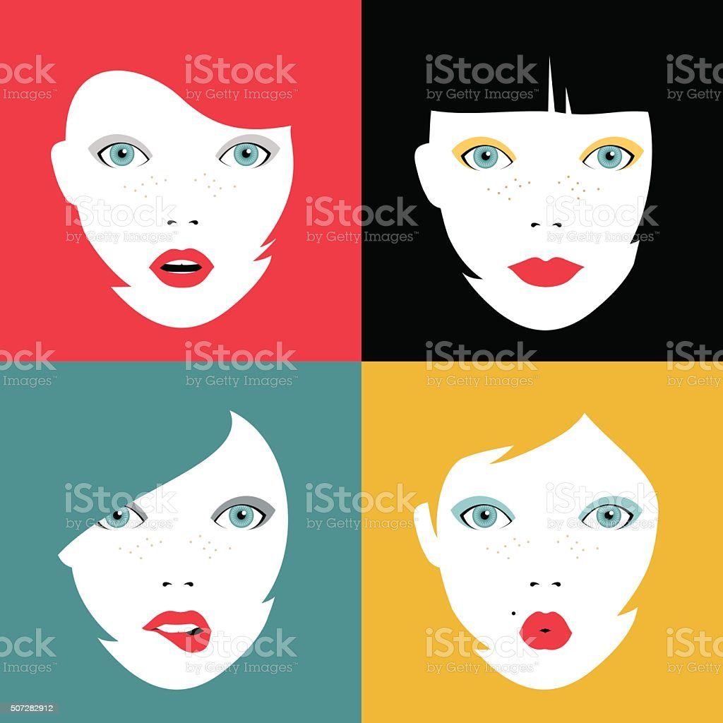 Set of colorful girl faces concept illustrations vector art illustration