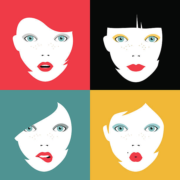 Set of colorful girl faces concept illustrations Illustration set of girl faces expressing different emotions. Concept woman portraits with colorful hairstyles and makeup. EPS10 vector. bangs stock illustrations
