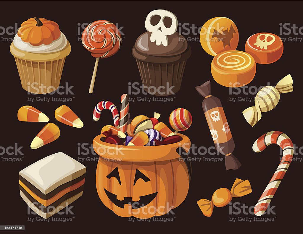 Set of colorful halloween sweets and candies icons vector art illustration