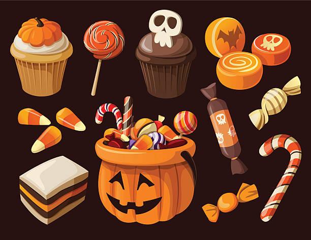 ilustraciones, imágenes clip art, dibujos animados e iconos de stock de colorido halloween conjunto de iconos de dulces y golosinas - magdalena dulces