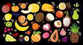 Set of colorful hand draw fruits - tropical sweet fruits, and citrus fruit illustration. Apple, pear, orange, banana, papaya, dragon fruit, lichee and other. Vector colored sketch isolated