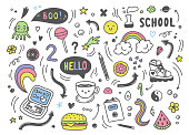 Set of colorful hand drawn doodle elements,arrows,stars,symbols,office or school objects and stationery.Funny colorful doodle background.