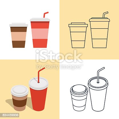 Vector illustration. Set of colorful icons of hot and cold drinks for fast food. Disposable glasses with a straw. Isometric, 3D, flat style and contour.