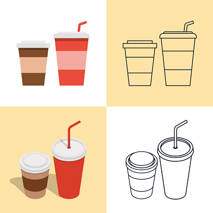 Set of colorful icons of hot and cold drinks