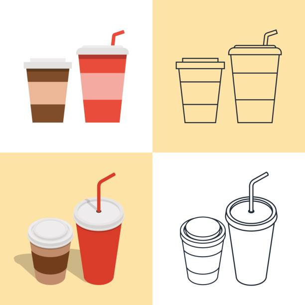 Set of colorful icons of hot and cold drinks vector art illustration