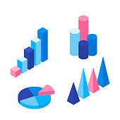 Set of colorful infographic vector elements: presentation graphics, statistics of data and diagrams. Modern 3d isometric vector design.