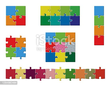 set of colorful jigsaw puzzle pieces template vector illustration