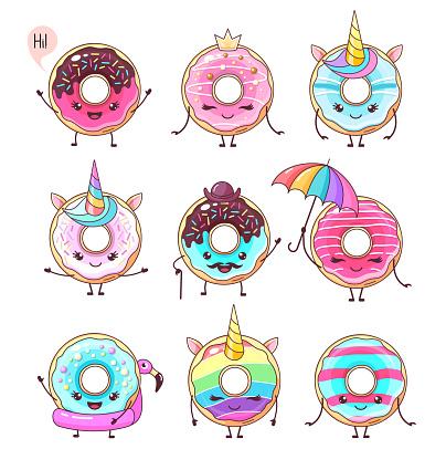 Set of colorful kawaii funny donuts. Sweet fast food vector illustration