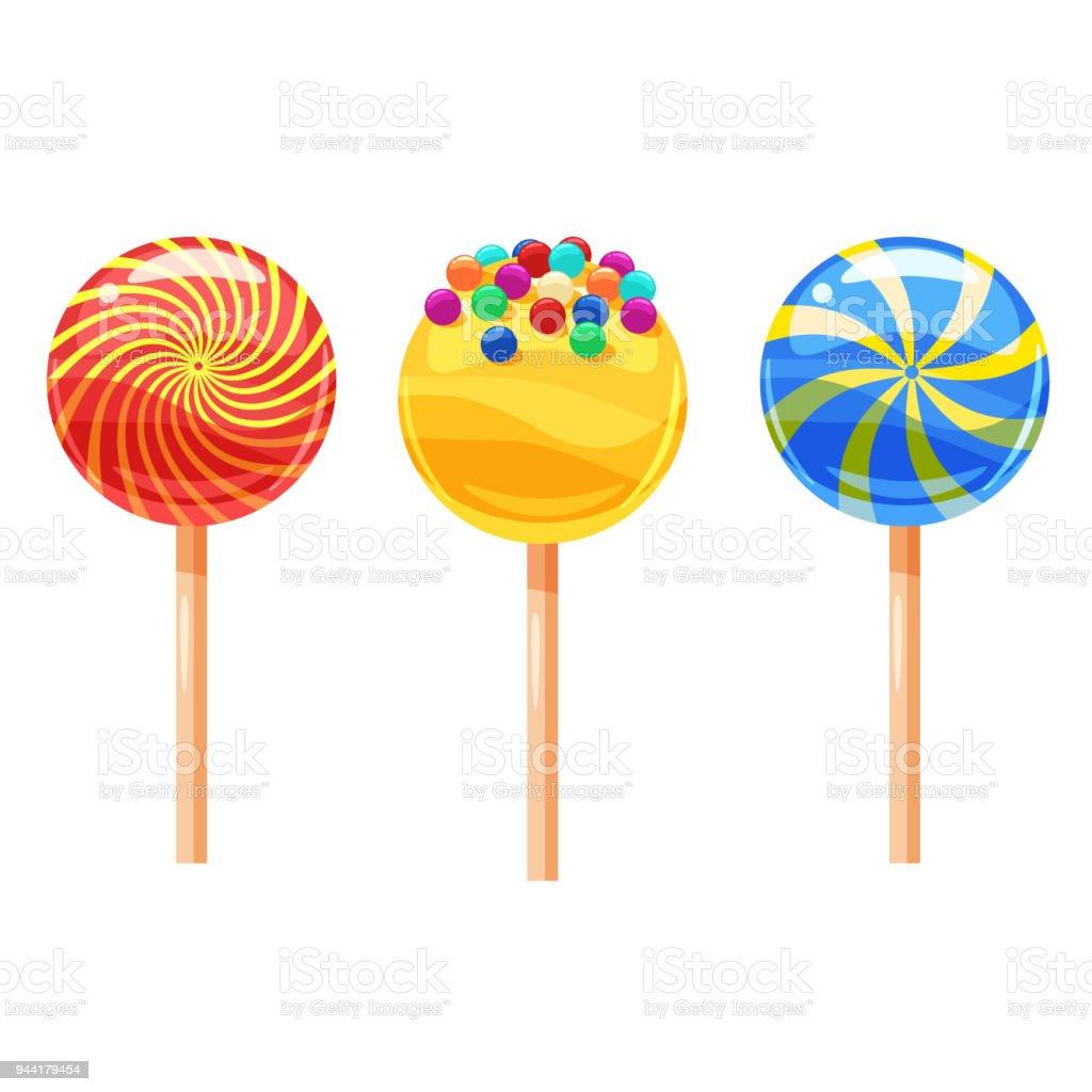 26 Set Von Bunte Lutscher Süßen Bonbons Vektorillustration Cartoonstil Stock  Vektor Art und mehr Bilder von Bunt   Farbton