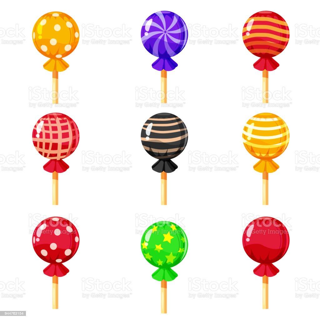 17 Set Von Bunte Lutscher Süßen Bonbons Vektorillustration Cartoonstil Stock  Vektor Art und mehr Bilder von Bunt   Farbton