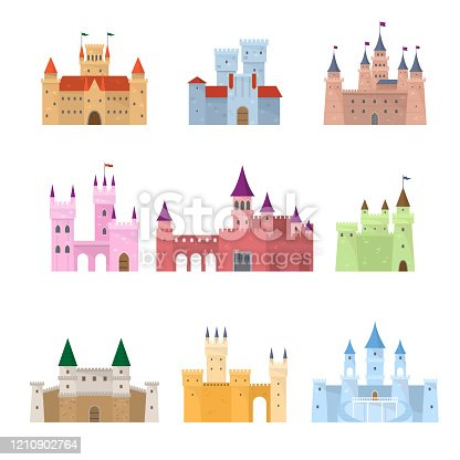 Set of colorful architectural medieval fairy tale princess, queen castle. Flat style. Vector illustration on white background
