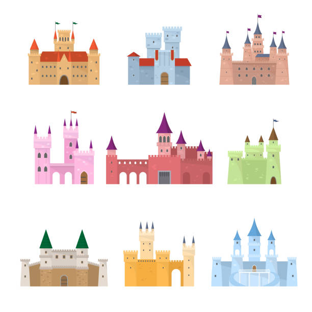 Set of colorful medieval fairy tale princess castle Set of colorful architectural medieval fairy tale princess, queen castle. Flat style. Vector illustration on white background architecture clipart stock illustrations