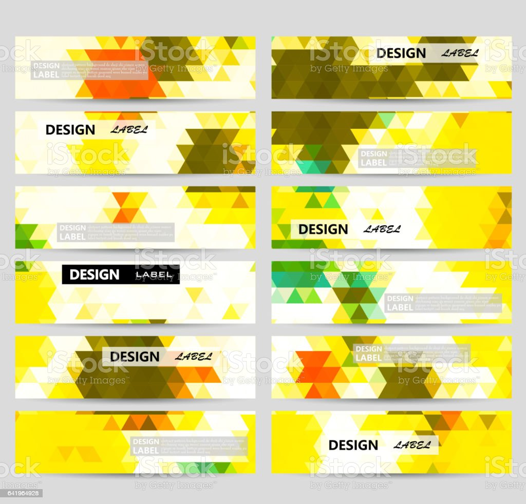 Set of colorful mosaic banners templates vector art illustration