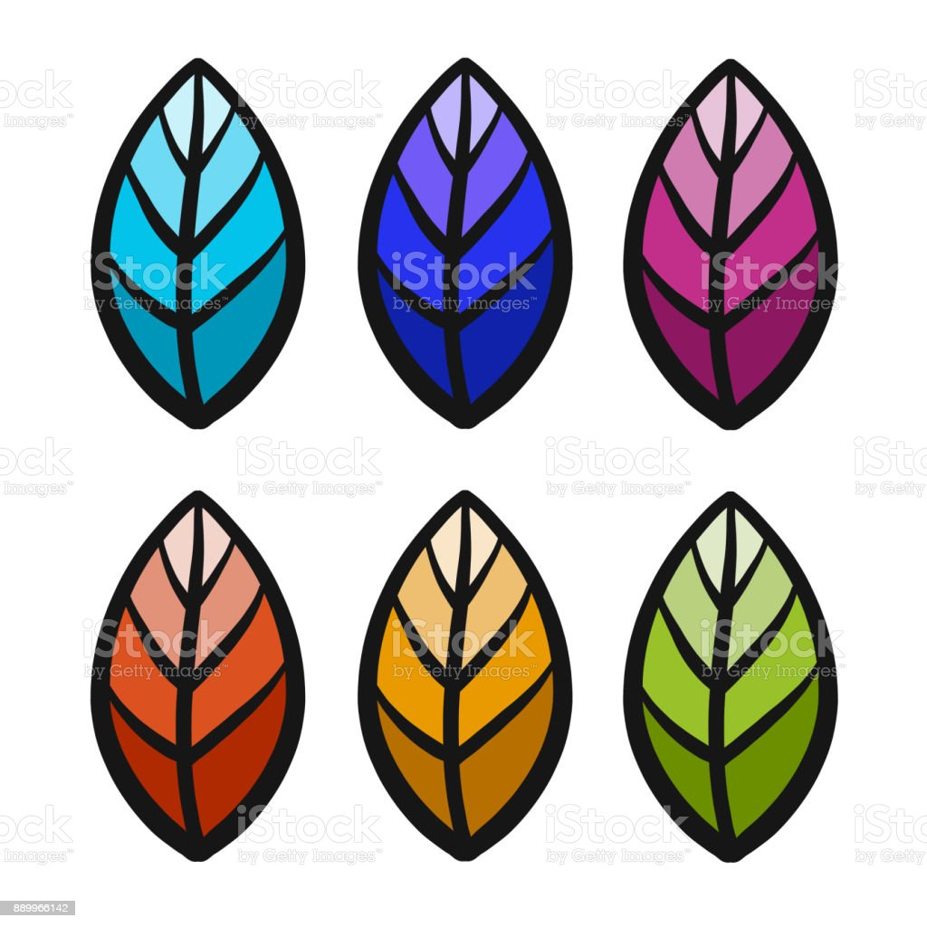 Set of colorful nature leafs. Vector illustration. vector art illustration