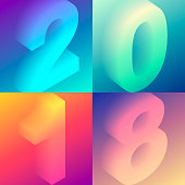Set of colorful numbers - 2018 with trendy gradients