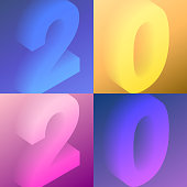 Set of four modern and trendy number designs. 2020 or number 2 (two), 0 (zero), 2 (two), 0 (zero) in isometric view with beautiful color gradients (colors used: Purple, Pink, Orange, Green, Brown, Blue, Beige, Yellow). Vector Illustration (EPS10, well layered and grouped). Easy to edit, manipulate, resize or colorize.