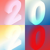 Set of four modern and trendy number designs. 2020 or number 2 (two), 0 (zero), 2 (two), 0 (zero) in isometric view with beautiful color gradients (colors used: Red, Purple, Pink, Orange, Green, Gray, Blue, Beige, Yellow). Vector Illustration (EPS10, well layered and grouped). Easy to edit, manipulate, resize or colorize.