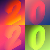 Set of four modern and trendy number designs. 2020 or number 2 (two), 0 (zero), 2 (two), 0 (zero) in isometric view with beautiful color gradients (colors used: Red, Purple, Pink, Orange, Green, Brown, Blue, Black, Yellow). Vector Illustration (EPS10, well layered and grouped). Easy to edit, manipulate, resize or colorize.