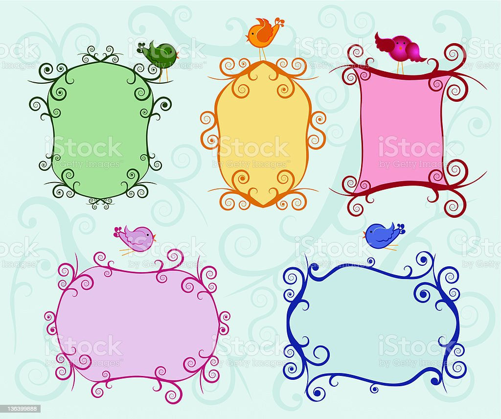 Set of colorful ornate labels royalty-free stock vector art