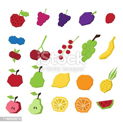 Set of colorful paper cut fruits and berries. Vector design elements for logos, patterns, invitations, prints, cards, posters, childrens, cooking books. Strawberry, raspberry, blackberry, blueberry, cranberry, plum, currant, cherry, grape, orange, lemon, apple, pear, watermelon, pineapple on white isolated background.