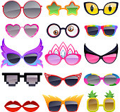 Set of colorful party sunglasses icons