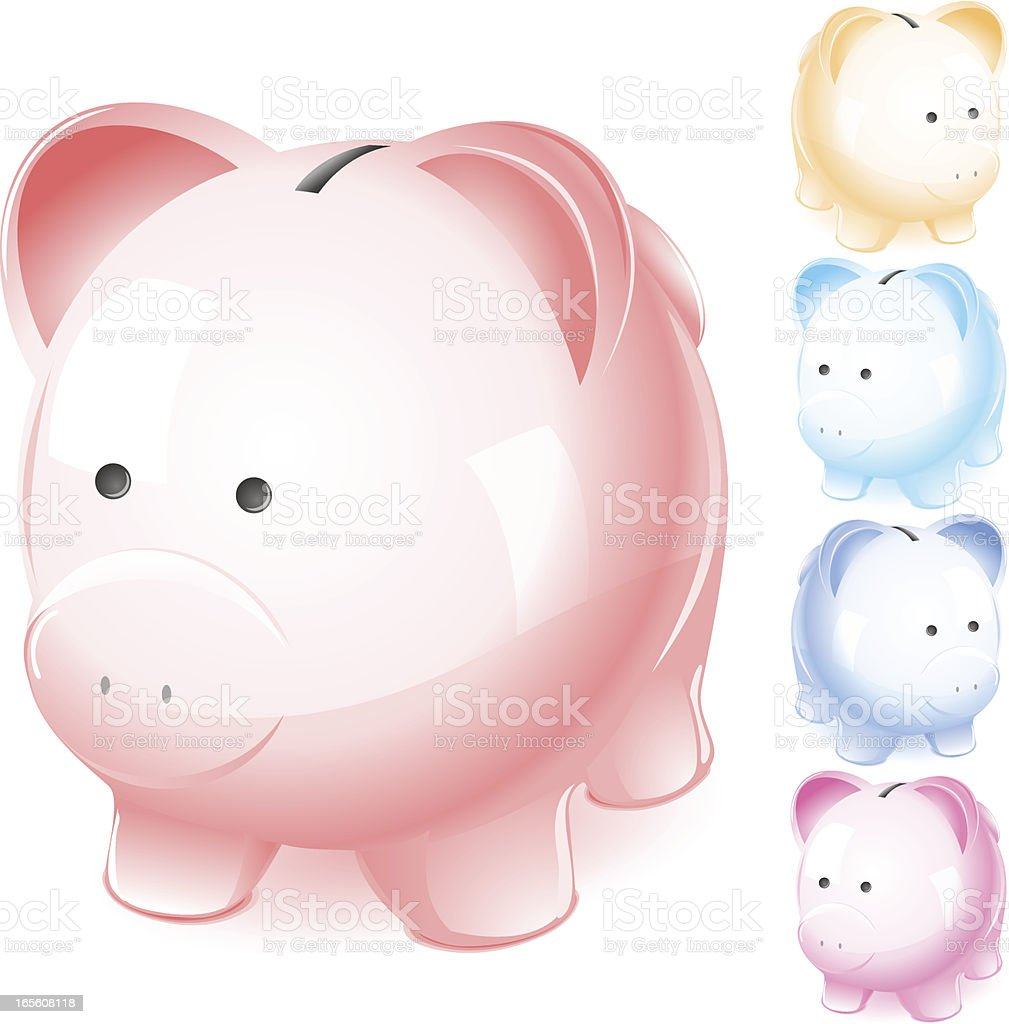 Set of Colorful Pastel Piggy Banks (vector) royalty-free set of colorful pastel piggy banks stock vector art & more images of 401k