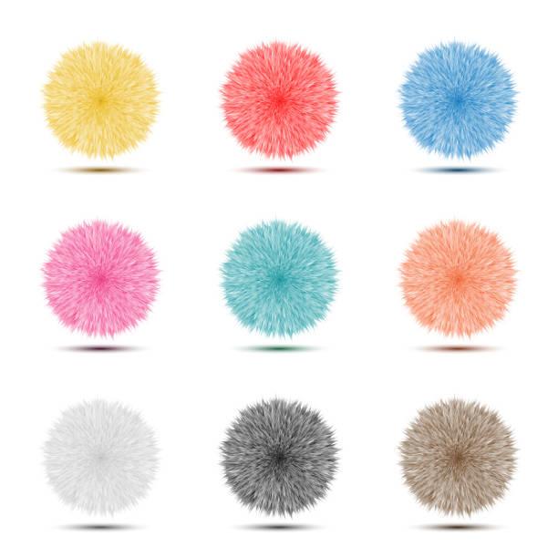 stockillustraties, clipart, cartoons en iconen met reeks van kleurrijke pompon pluizig behaard bal pictogram voor abstracte idee grafisch ontwerpconcept - pompon