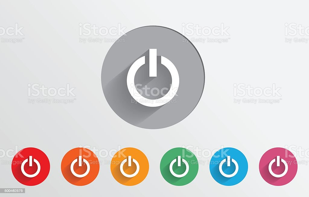 Set of colorful power icons vector art illustration