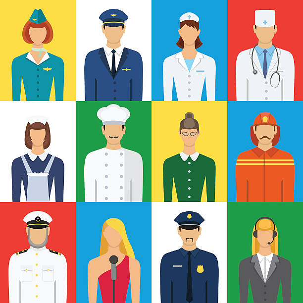 Set of colorful profession people flat style icons vector illust Set of colorful profession people flat style icons vector illustration. Different people professions characters set police meeting stock illustrations