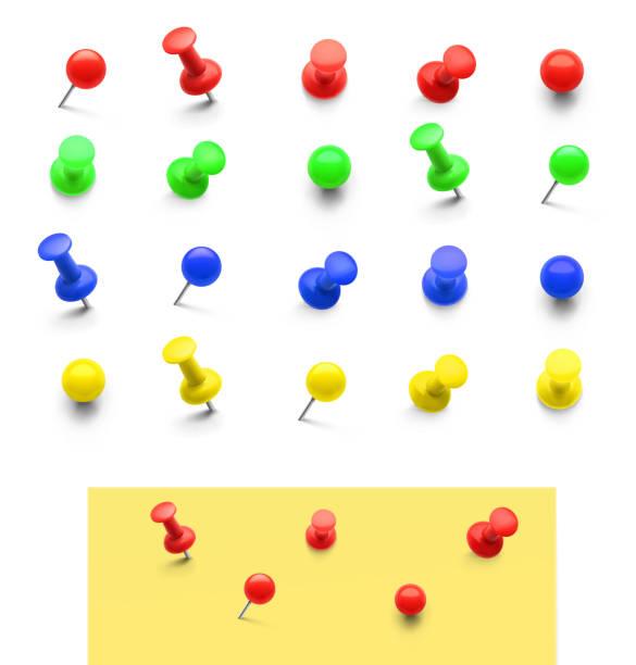 set von bunten push-pins isoliert auf weißem hintergrund. - anschlagbrett stock-grafiken, -clipart, -cartoons und -symbole
