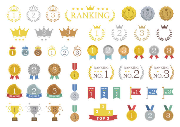 set of colorful ranking icons / vector illustration set of colorful ranking icons / vector illustration number 1 stock illustrations