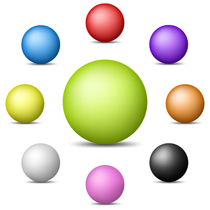 Set of Colorful Realistic Spheres isolated on white background. Glossy Shiny Spheres. Vector Illustration for Your Design.