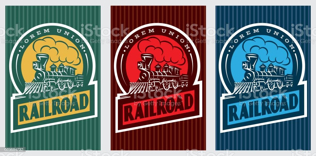 A set of colorful retro posters with a vintage locomotive. Vector illustration vector art illustration