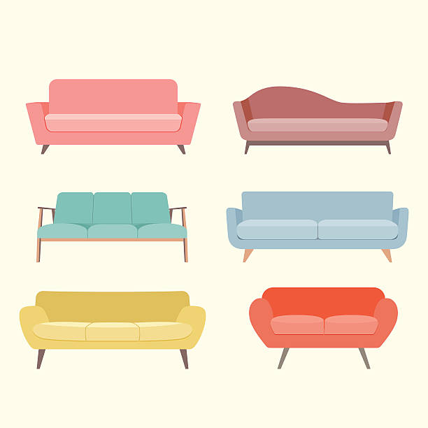 illustrations, cliparts, dessins animés et icônes de set of colorful retro sofa. vector flat illustration - canapé